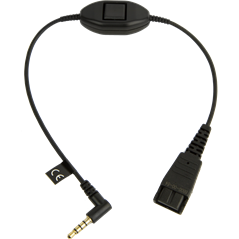 Jabra quick disconnect (QD) to 3.5 mm jack cord, with answer/end/mute function
